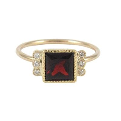Square Garnet Deco Ring