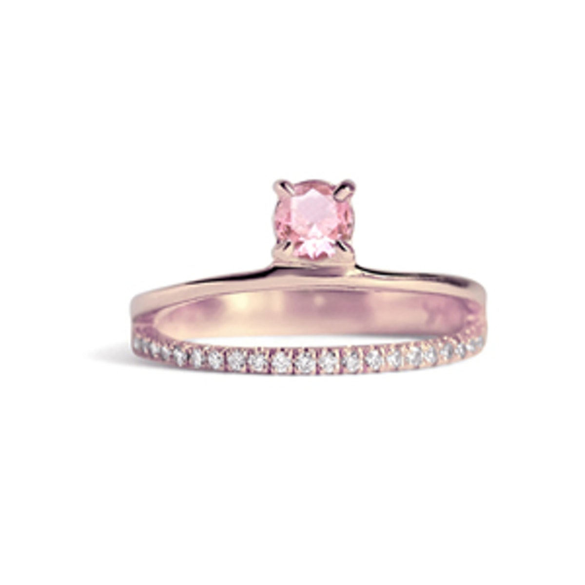 Floating Pink Sapphire Pavé Ring