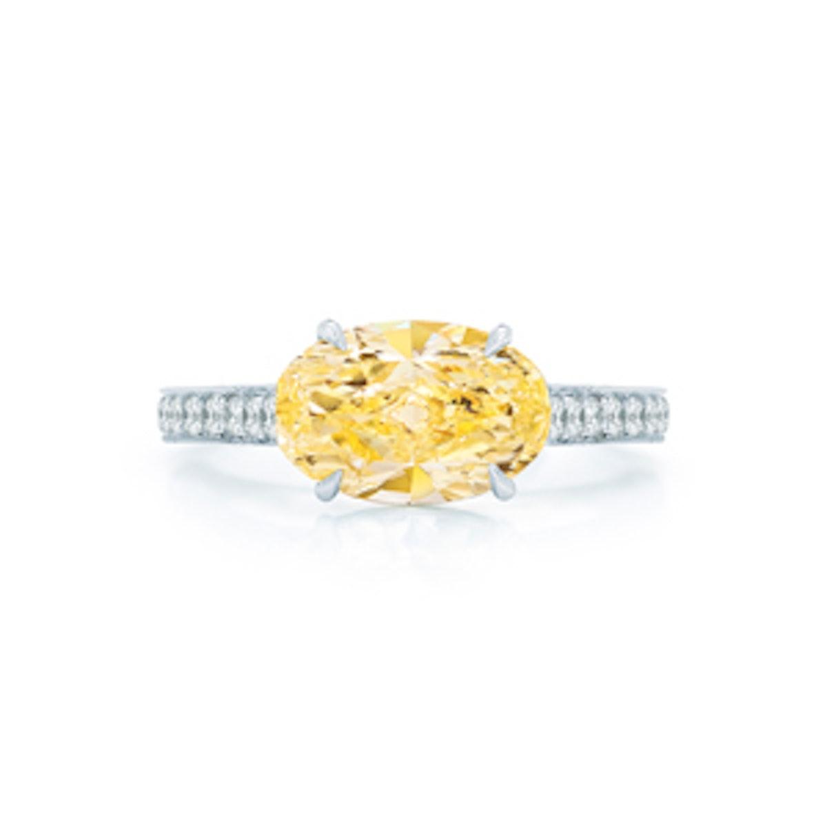 Oval Yellow Diamond Engagement Ring