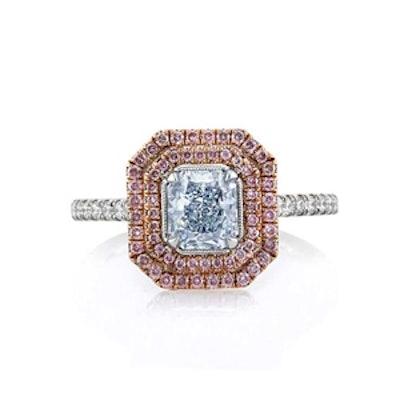 Fancy Light Blue Radiant Cut Diamond Engagement Ring