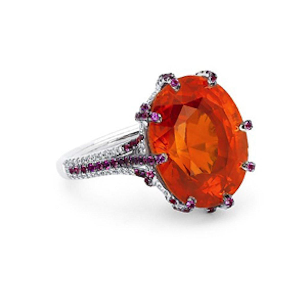 15.5 Carat Cushion-Cut Orange Sapphire Ring