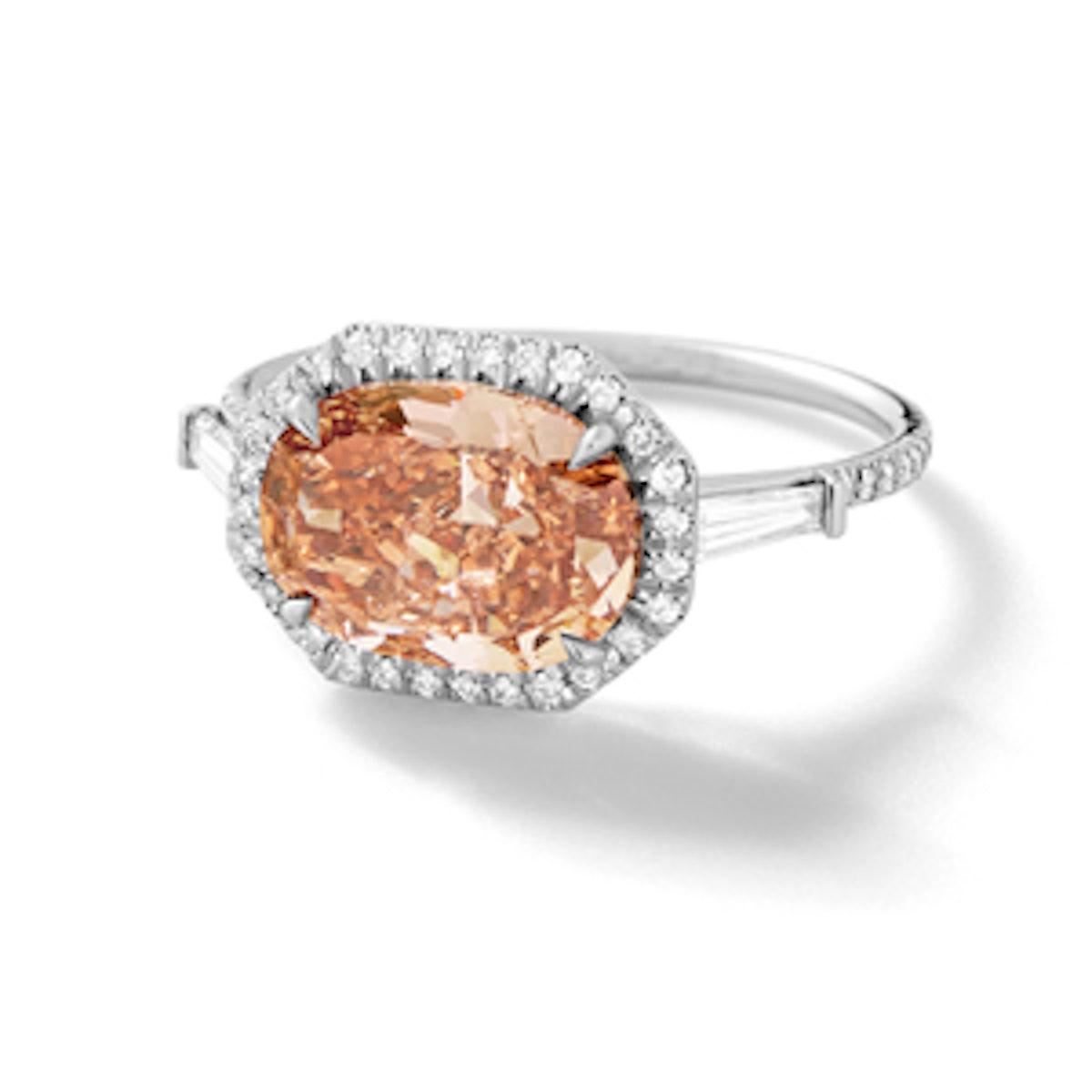 Oval Brilliant Cut Pink Diamond With Diamond Baguettes