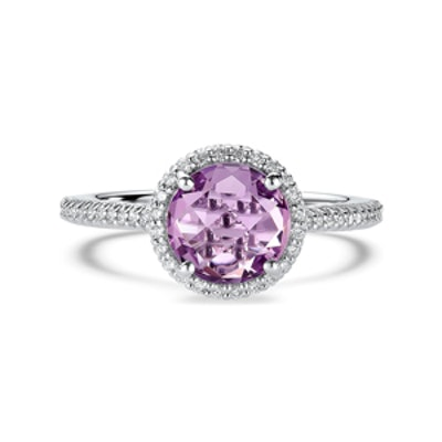 Round Amethyst Diamond Band Engagement Ring