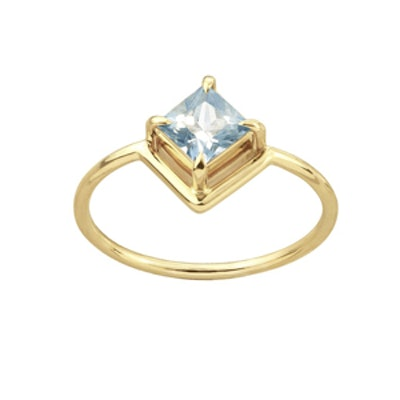 One Of A Kind Nestled Princess Cut Light Blue Sapphire Ring