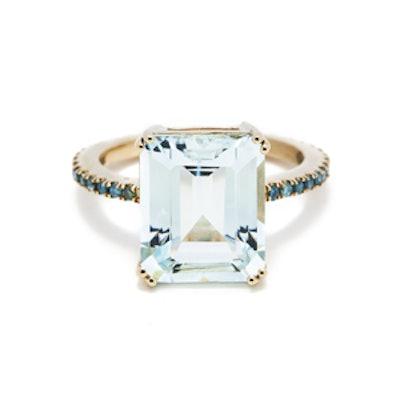 Aquamarine and Blue Diamonds Ring