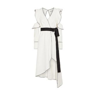 Cold-Shoulder Wrap-Effect Crepe Dress