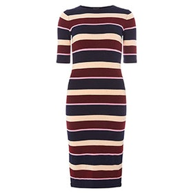 Multi Coloured Stripe Knitted Midi Dress