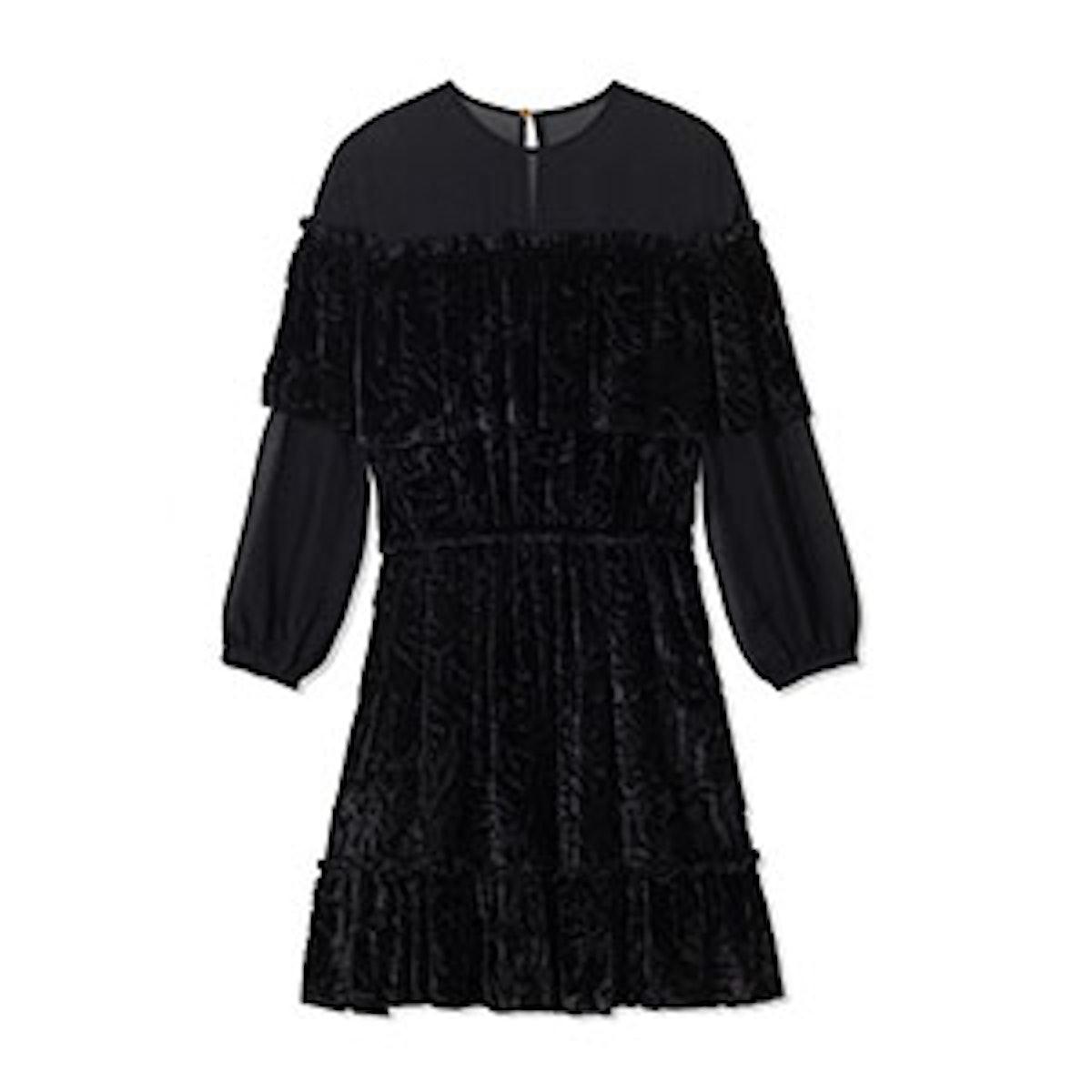 Pire Sheer-Shoulder Velvet Mini Dress