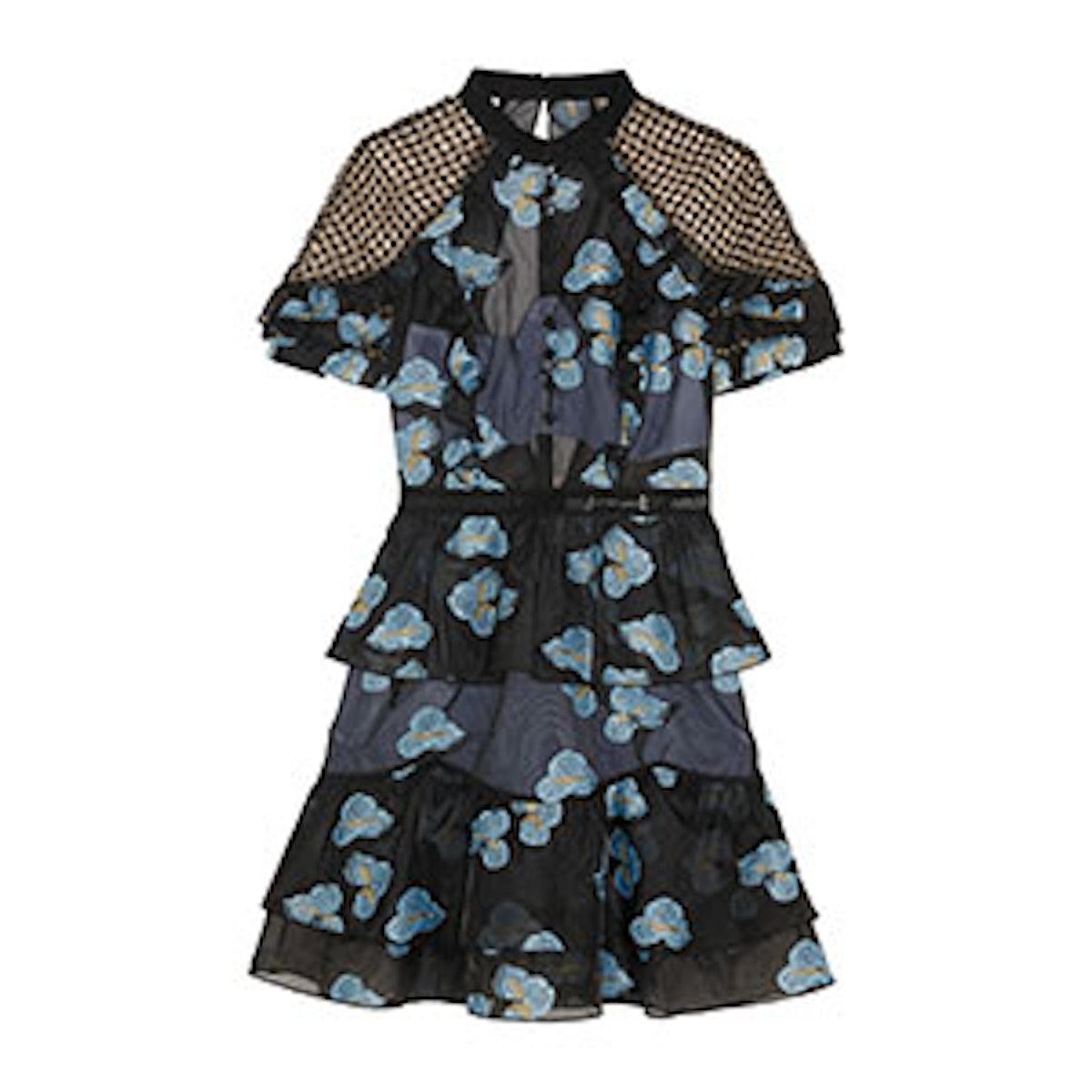 Guipure Lace-Paneled Fil Coupé Organza Mini Dress