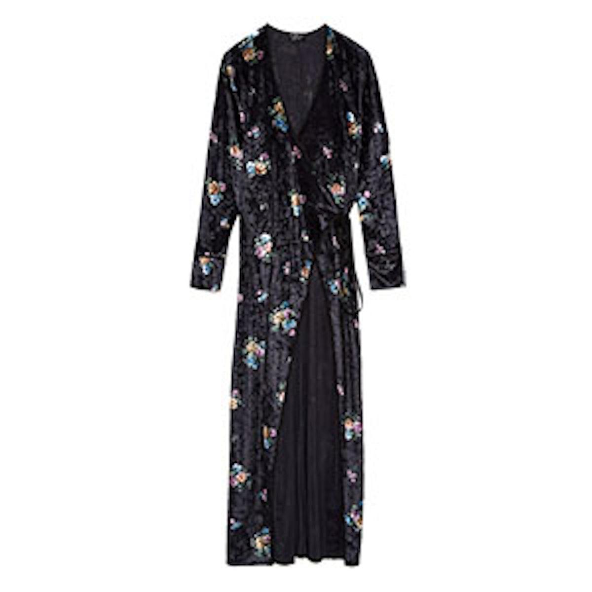 Velvet Floral Kimono Details