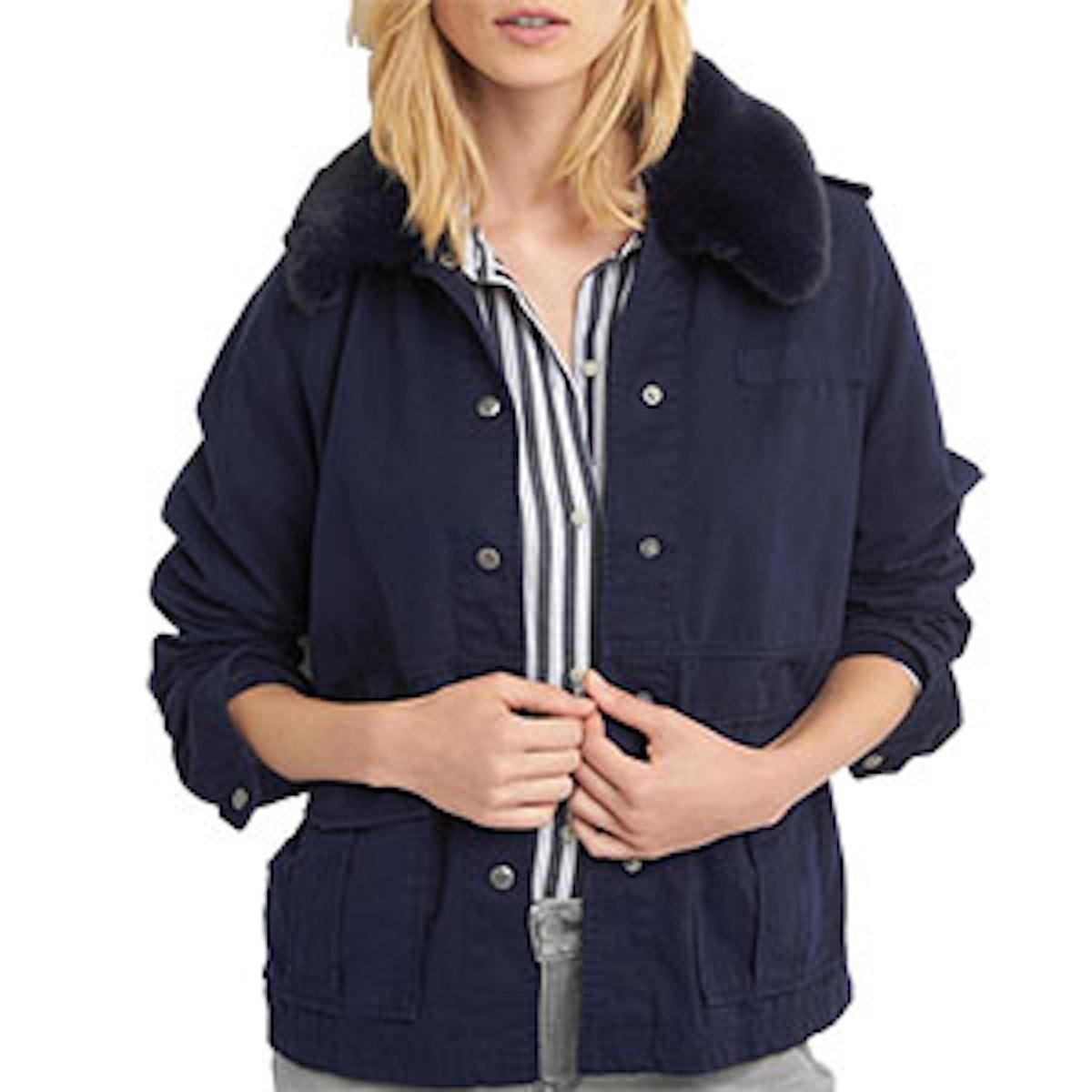 Detachable Fur Collar Utility Jacket
