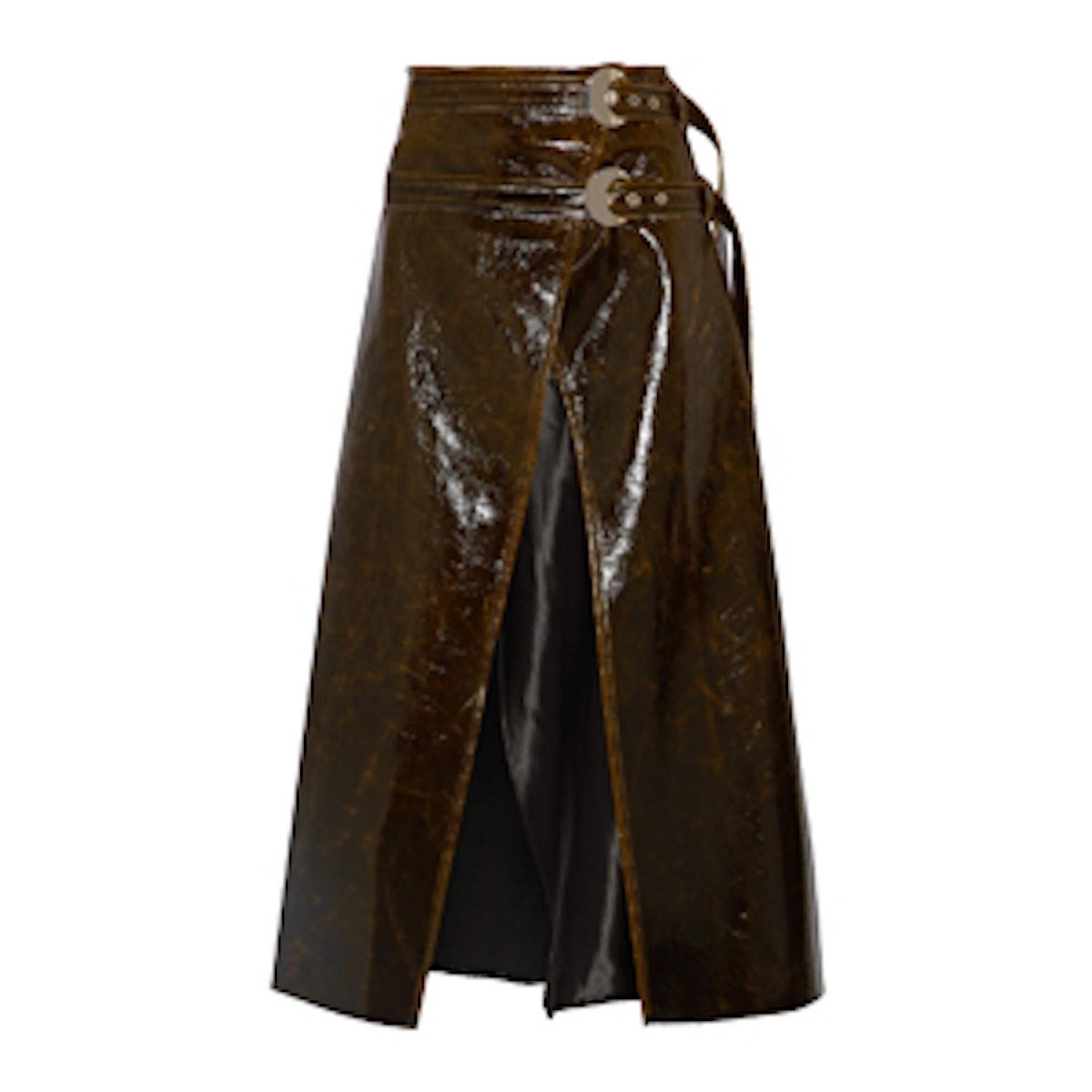 Pistol Satin-Trimmed Coated Wool-Blend Wrap Midi Skirt