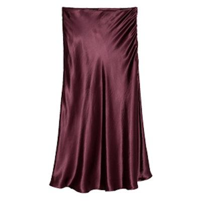 Calf-Length Satin Skirt