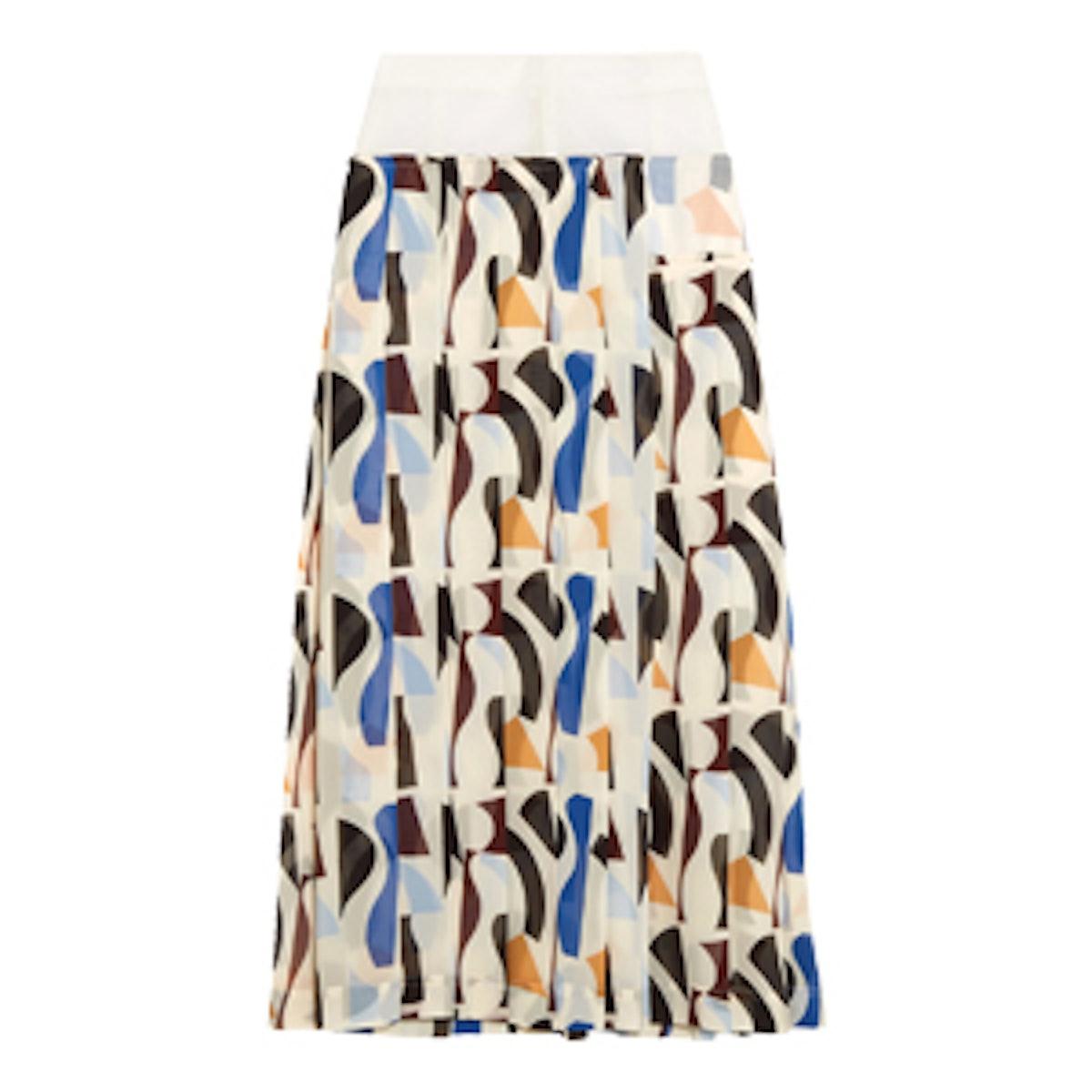 Pleated Printed Georgette Midi Skirt