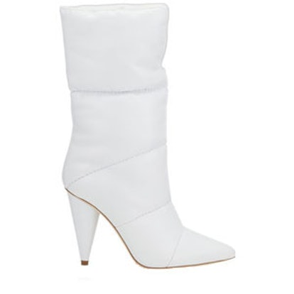 Sara Optic White Padded Nappa Leather Mid High Boots