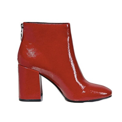 Faux Patent Leather Ankle Boots