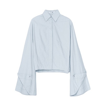 Cotton Bell-Sleeve Button Down Blouse