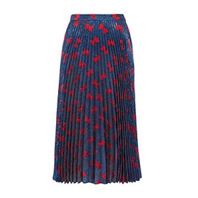 Plissé-Lamé Midi Skirt