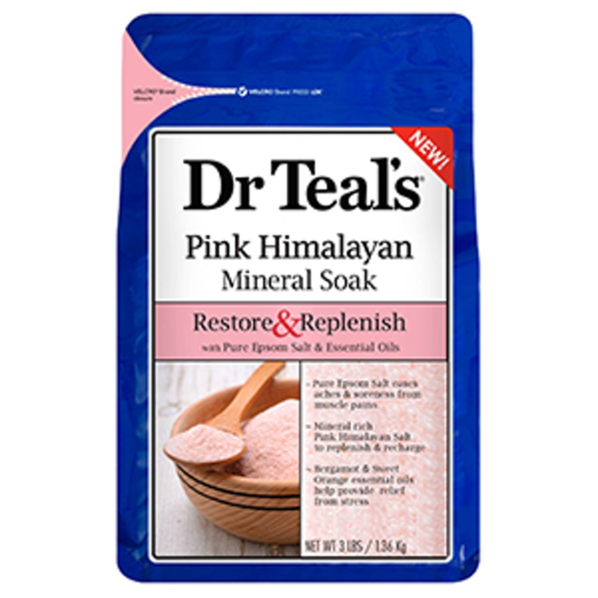 Dr. Teal's Restore & Replenish Pure Epsom Salt & Essential Oils Pink Himalayan Mineral Soak