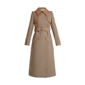 Point-Collar Leather-Trim Checked Wool Trench Coat