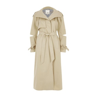 Beige Deconstructed Sleeve Long Trench Coat
