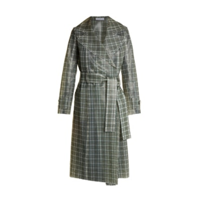 Tie-Waist Coated-Tartan Trench Coat