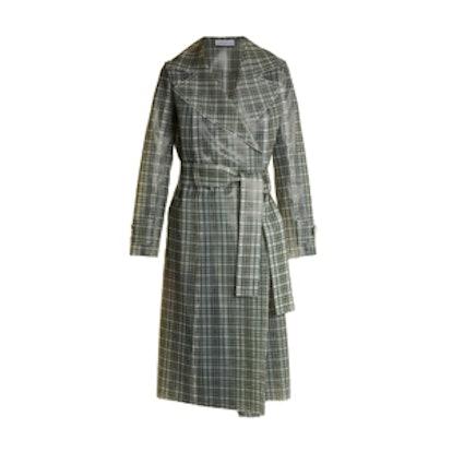 Tie-Waist Coated-Tartan Trench Coat