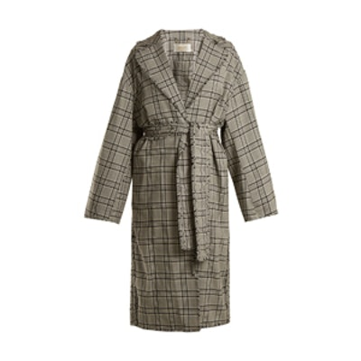 Rife Checked Wool Trench Coat
