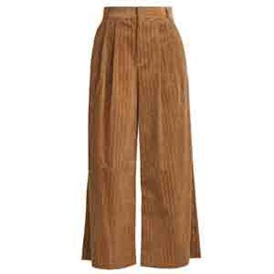 Wide-Leg Cropped Cotton-Corduroy Trousers