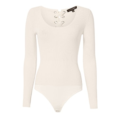 Caterina Lace-Up Grommet White Bodysuit