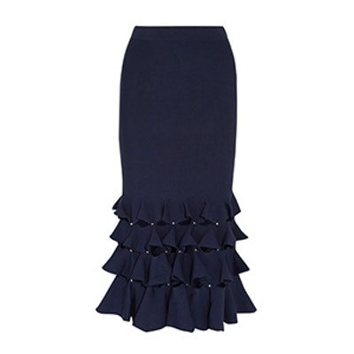 Cutout Ruffled Knitted Midi Skirt