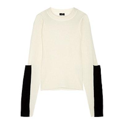 Paneled Waffle-Knit Merino Wool Sweater