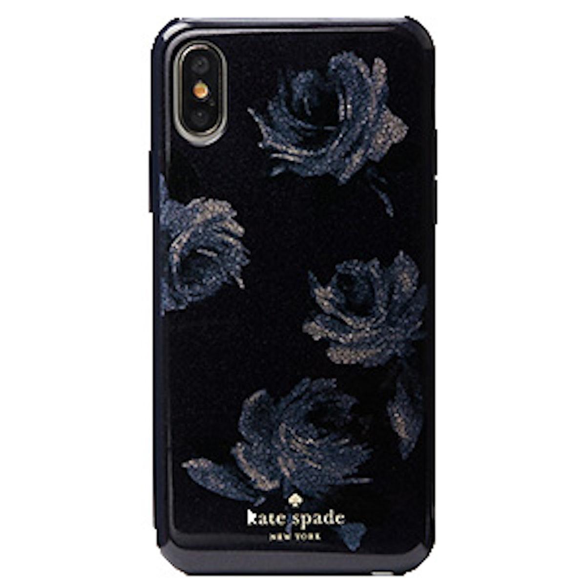 Night Rose Glitter iPhone X Case