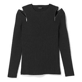 Zip Shoulder Ribbed Sweater