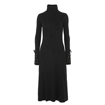 Lace-Up Ribbed Cotton-Blend Turtleneck Dress