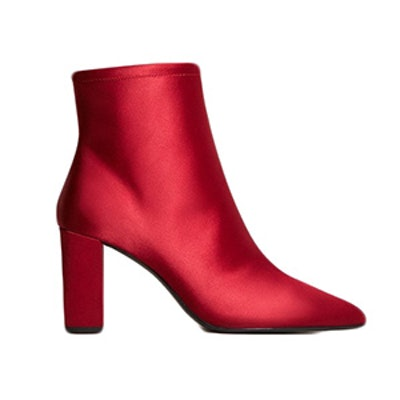 Satined Fabric Ankle Boots
