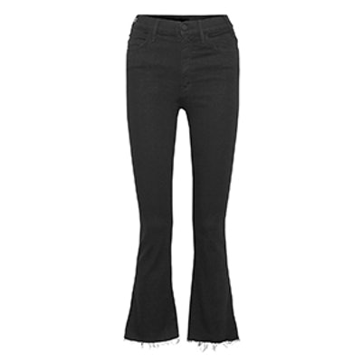 The Hustler Distressed Cropped High-Rise Flared Jeans