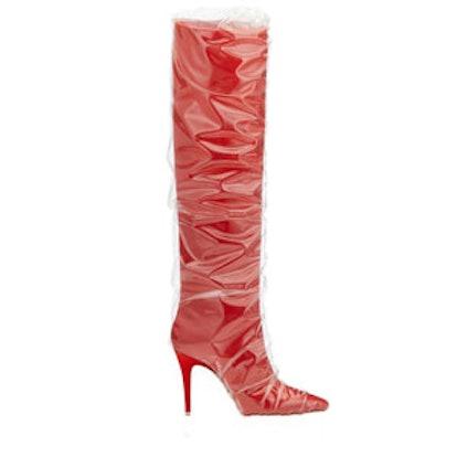 Elisabeth Red Satin Knee High Boots