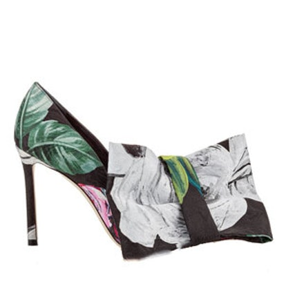 Mary Floral Printed Moire Pointy Toe Pumps
