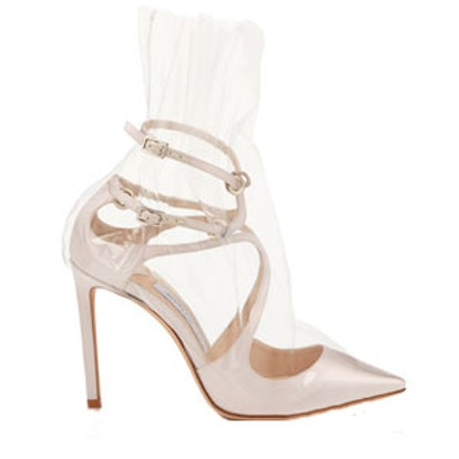 Claire White Satin Pointy Toe Pumps