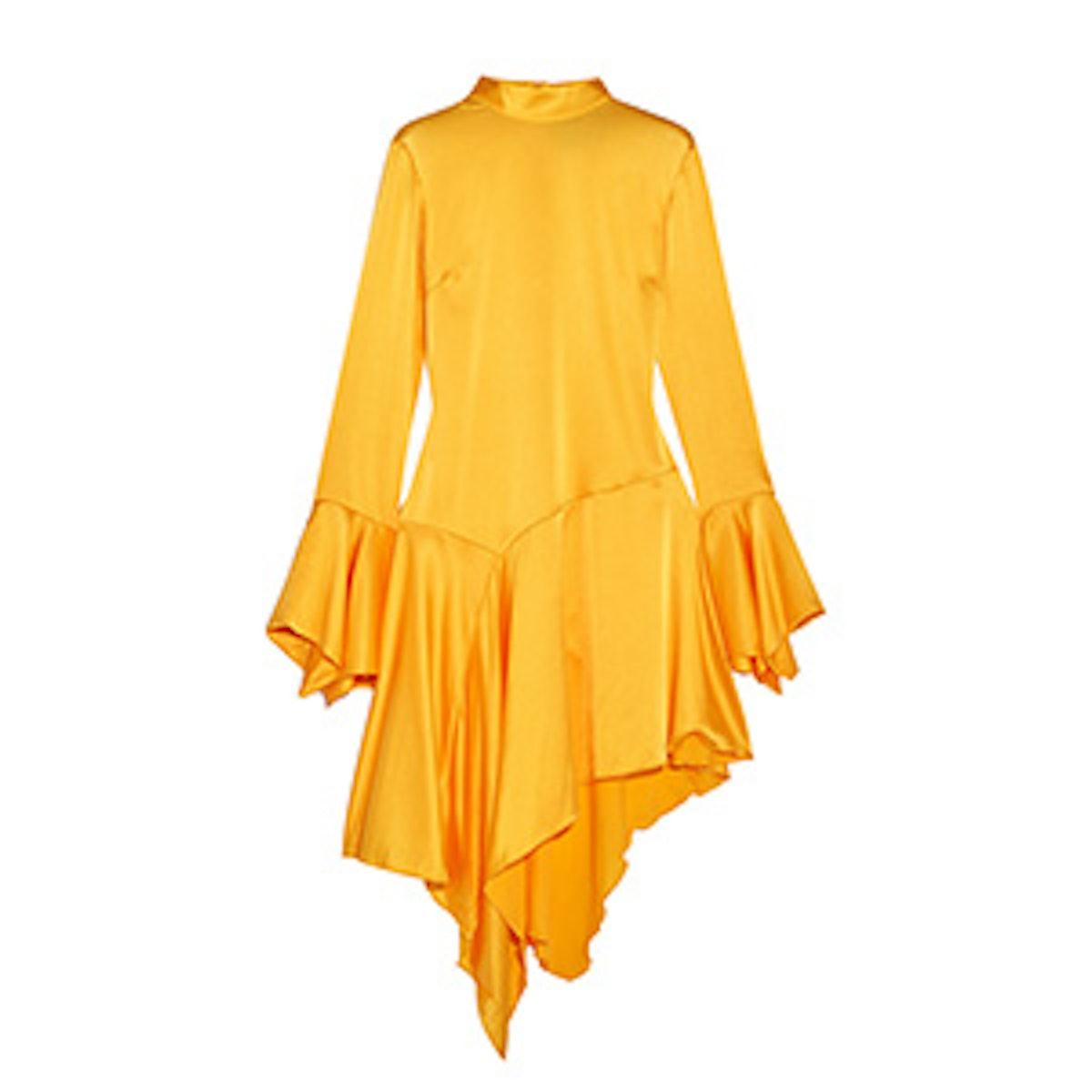 Rufus Asymmetric Silk-Blend Satin Dress