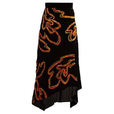 Floral-Chenille Asymmetric Velvet Skirt