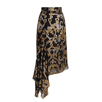 Asymmetric Fil Coupé Silk-Blend Midi Skirt