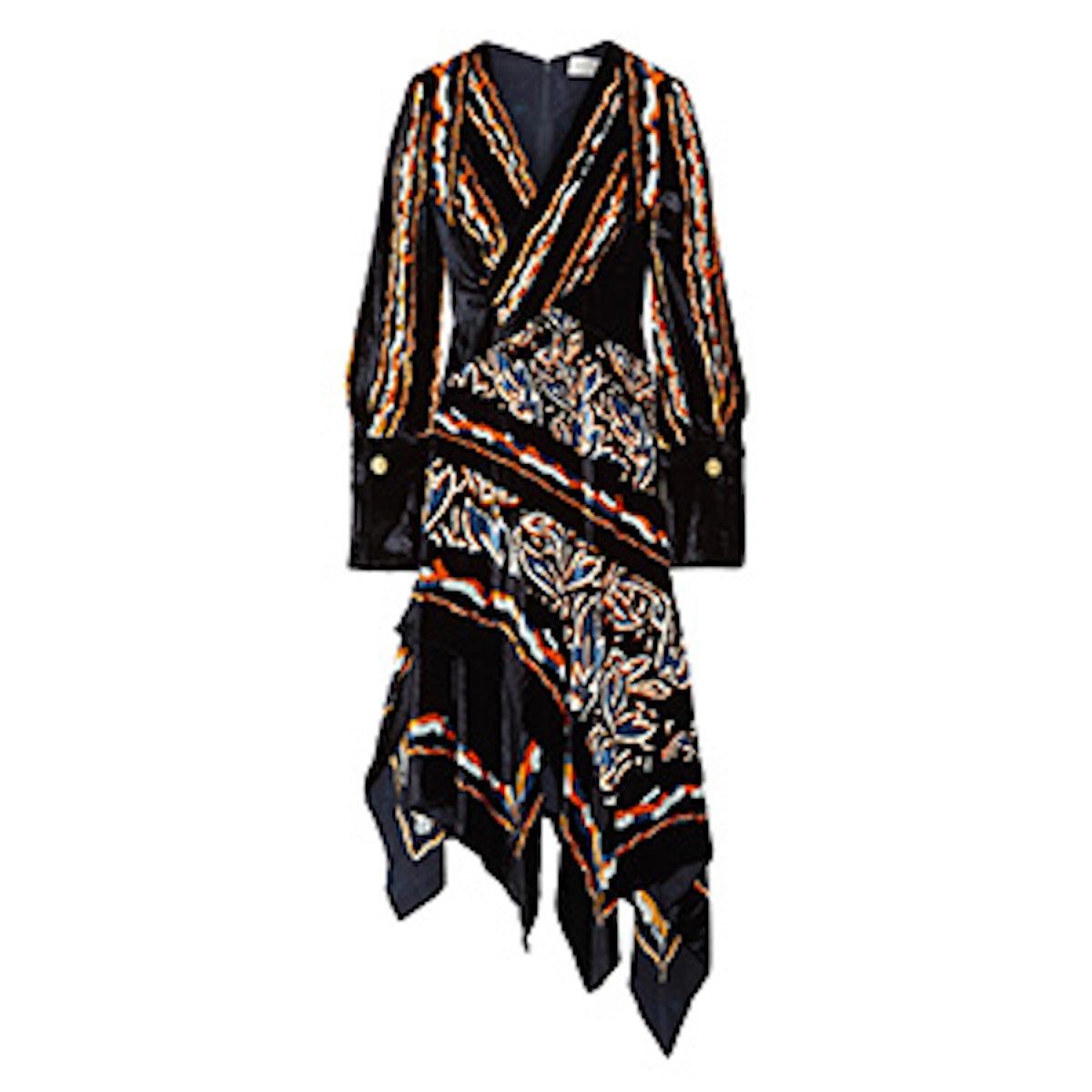 Wrap-Effect Printed Velvet Midi Dress