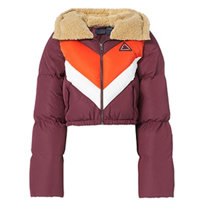 Quilted Chevron Burgundy Puffer Jacket