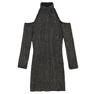 Kipling Cold-Shoulder Beaded Mini Dress