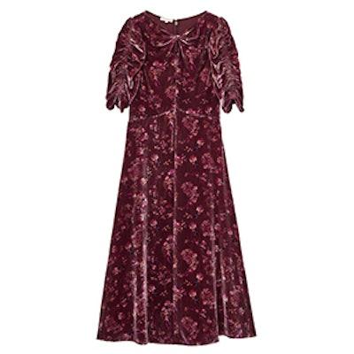 Jewel Paisley Velvet Midi Dress