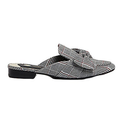 Check Bow Backless Loafers