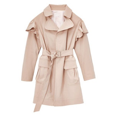 Cotton Faille Ruffle Trench