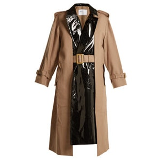 Pleat Front Contrast Panel Belted Trench Coat